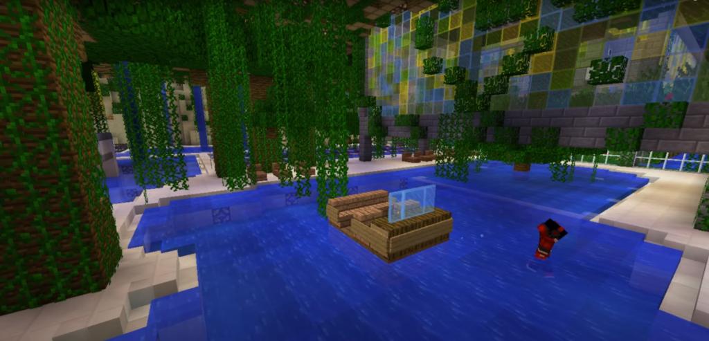 Jungle zwembad op Minecraft Pretpark ShowCraft
