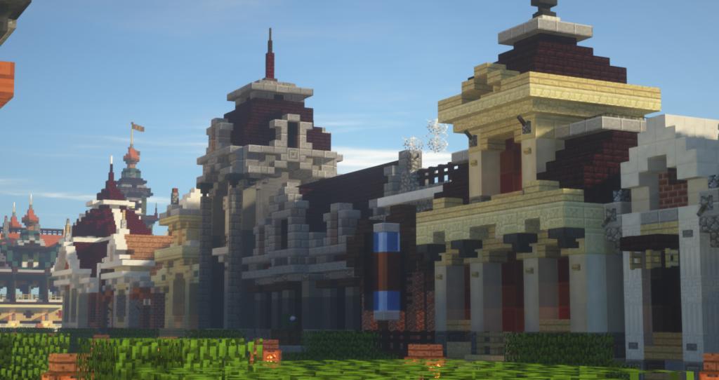 Mainstreet op Minecraft Pretpark Valenturia