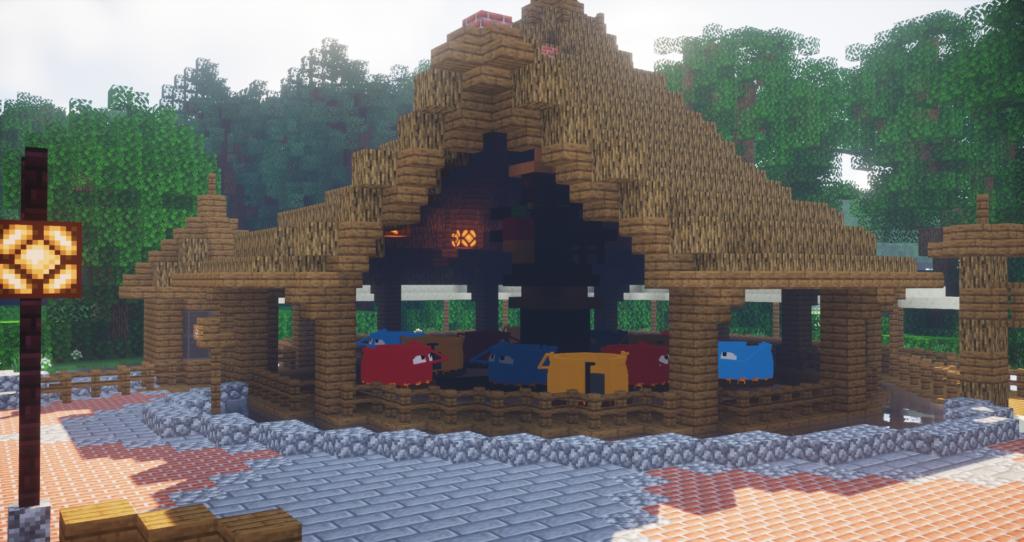 Attracties Vogelrok en Monsieur Cannibale op Minecraft Pretpark PieckCraft (Efteling)
