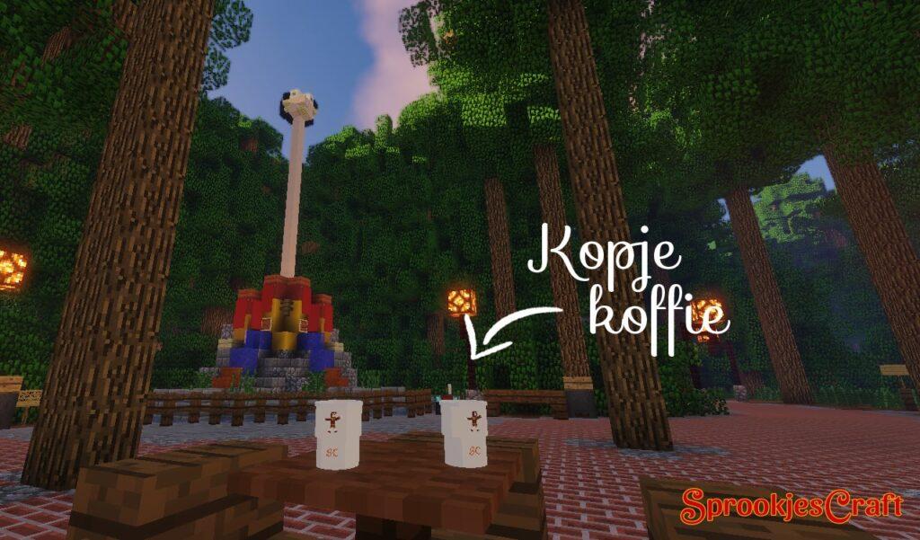 Kopje koffie op Minecraft Pretpark SprookjesCraft (Efteling)